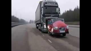 Volvo TIR'ların müthiş fren sistemi,Volvo Truck awesome braking system