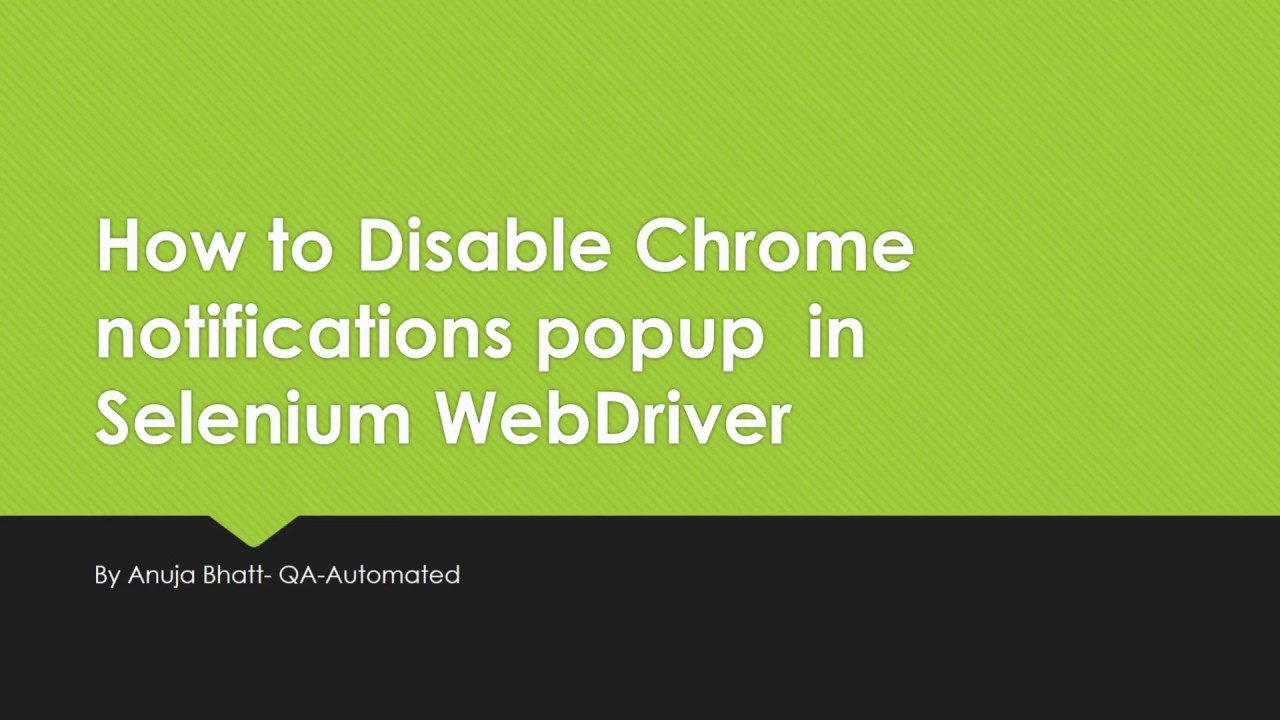 How to Disable Chrome notifications popup in Selenium WebDriver
