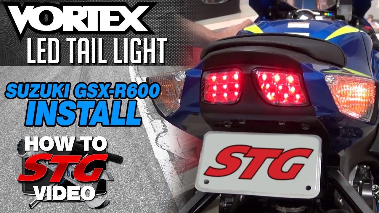 vortex led tail light install on suzuki gsx r600 project bike from sportbiketrackgear com [ 1280 x 720 Pixel ]