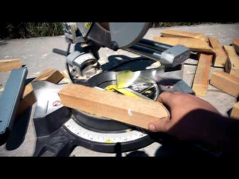 Торцевая пила Ryobi EM254L- отрезаем бруски под 58 градусов.