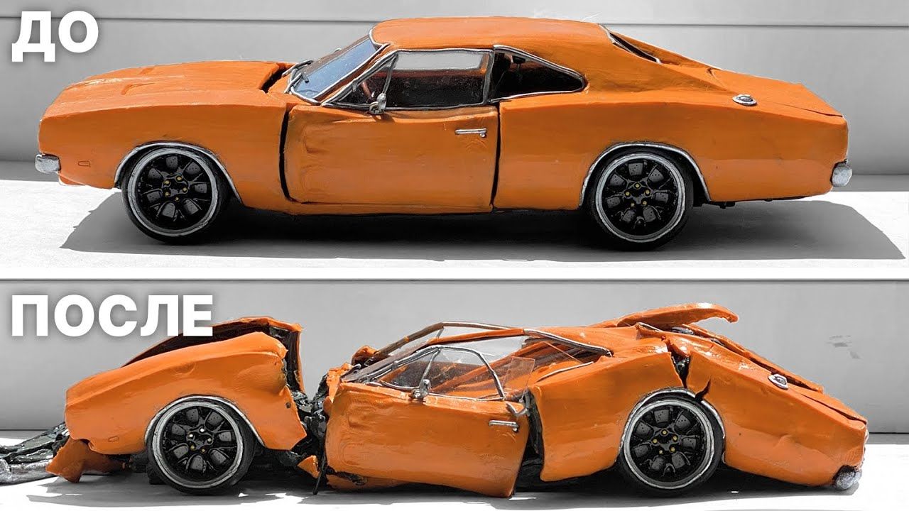 Машина из пластилина расплавилась на солнце Dodge Charger R/T 1969