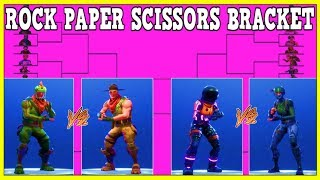 32 SKINS IN A 'ROCK PAPER SCISSORS' BRACKET (Qui va gagner?) Fortnite Battle Royale!