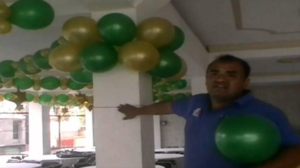 Decoracion con globos como cubrir columnas con globo youtube - Como decorar una columna ...