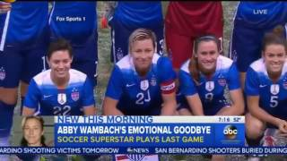 Abby Wambach Emotional Soccer Video Abby Wambach Retires Plays Final Game in Women's Socce