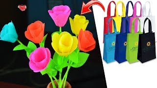 DIY Reusable Craft Shopping Bags Flowers | Carry Bags Stick Flowers Tutorial