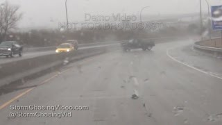 Duluth, MN Snow Slick Roads, Crashes and Snow - 3/16/2016