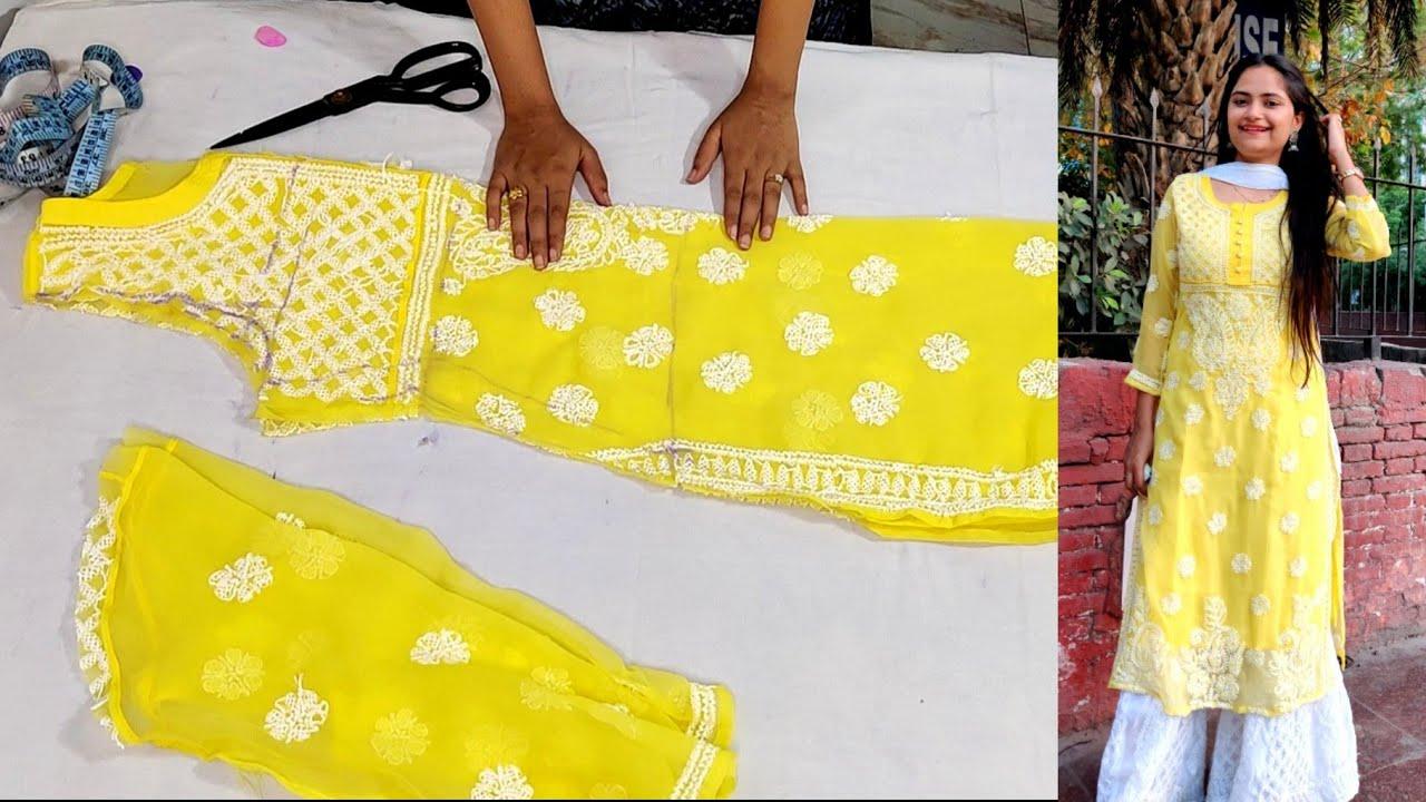 चिकनकारी कुर्ती घर पर ही कैसे बनाएं? How to cut and stitch kurti perfectly, Resize, chikankari kurti