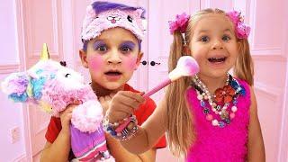 Brincadeira da Diana com Kits de Maquiagem Infantis