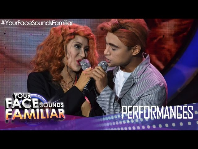 Your Face Sounds Familiar: Myrtle Sarrosa and Edgar Allan Guzman as Kylie Minouge and Jason Donovan