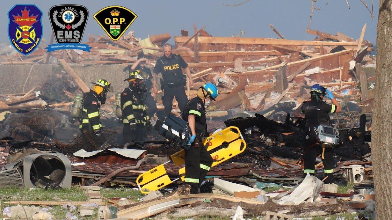House Explosion In Leamington Ontario  - Leamington Fire On Scene