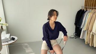 여자봄코디 네이비니트 헤링본반바지 | 사색 쇼핑몰 촬영…