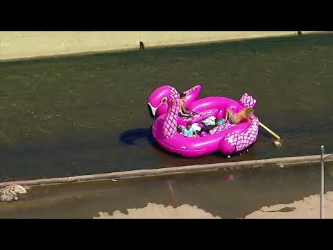 VIDEO: Group Floats Down Los Angeles River In Inflatable Pink Flamingo Raft | ABC7