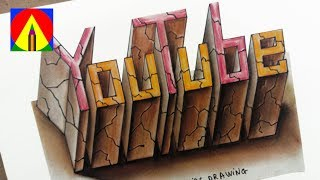 How to Draw 3D Letter Youtube - Drawing with pencil and colored chalk