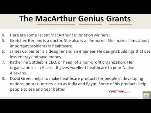 Reading   U4-L2   The MacArthur Genius Grants