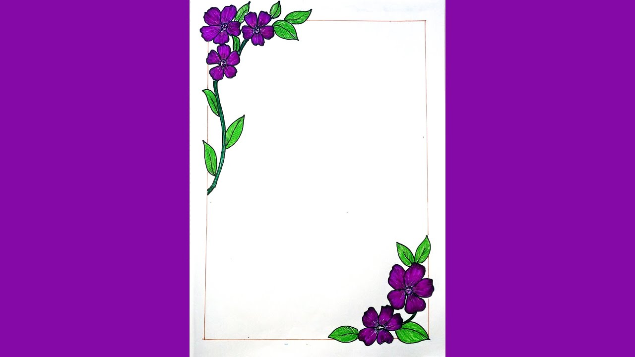 How to draw flower corner border design for page design ...