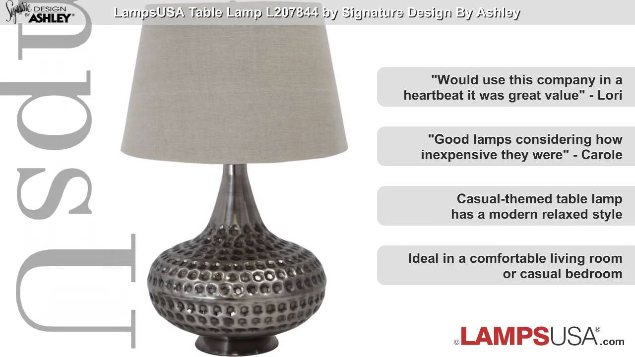 Ashley 1 Light 3 Way Table Lamp Pewter L207844 Youtube