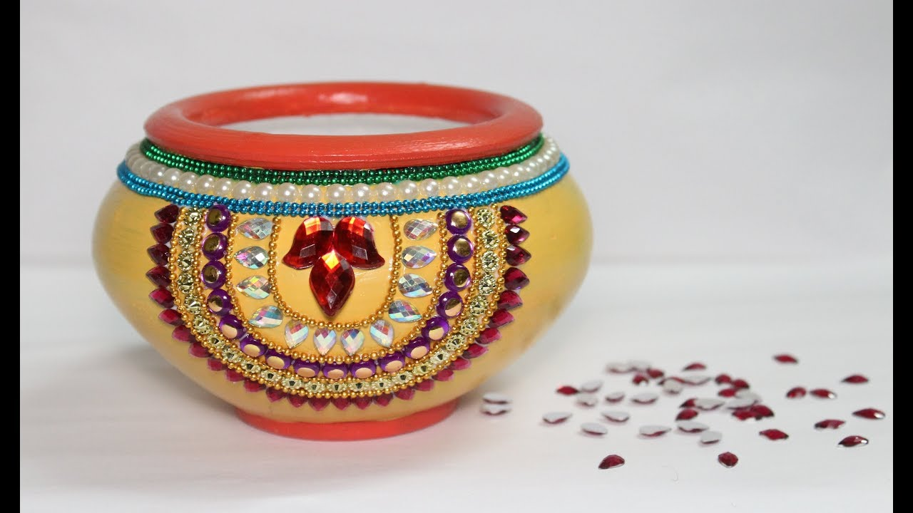 How To Decorate Pot At Home With Kundans Pranita Bhatkar Youtube