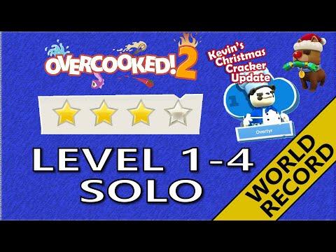 Overcooked 2 ❄️ Christmas DLC – Level 1-4 - 4-Stars World record! -  1 Player - Score: 2122 |