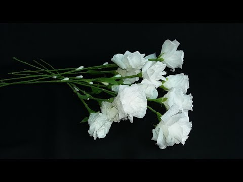 How to make flower with tissue roll | DIY tissue paper white rose