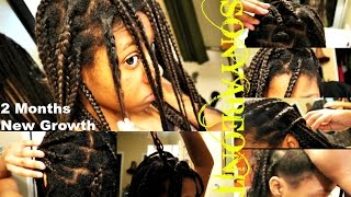 update 2 month new growth healthy no knots box braids   relaxed hair
