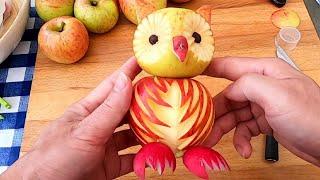 Handmade Apple Owl Cutting Garnish | Fun Food For Kids | Fruit & Vegetable Carving Ideas