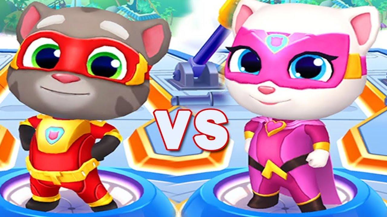 Talking Tom Hero Dash Walkthrough Gameplay Part 20   Super Tom VS Super  Angela iOS, Android
