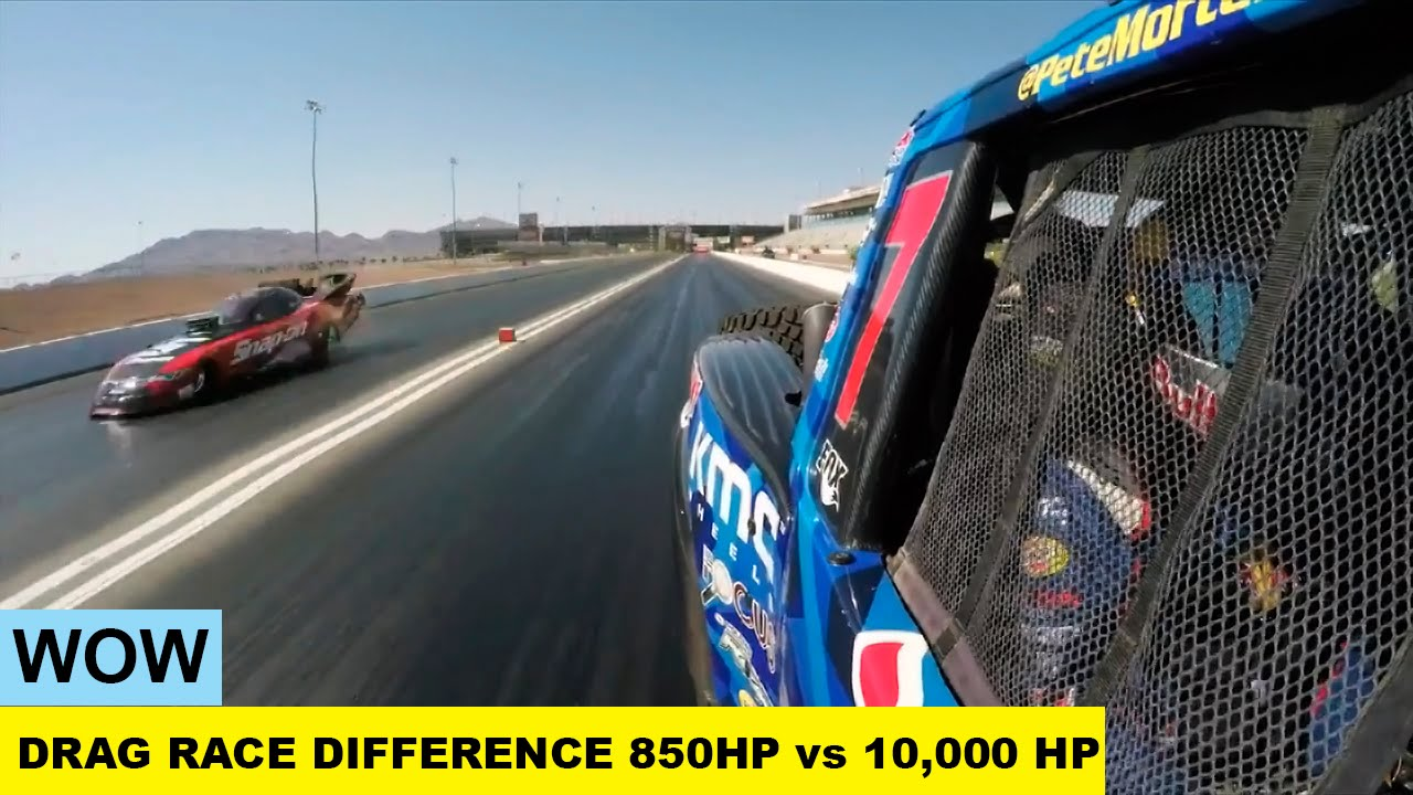WOW Drag Race The Difference Between HP Vs HP YouTube - 850 horsepower truck races 10000 horsepower car