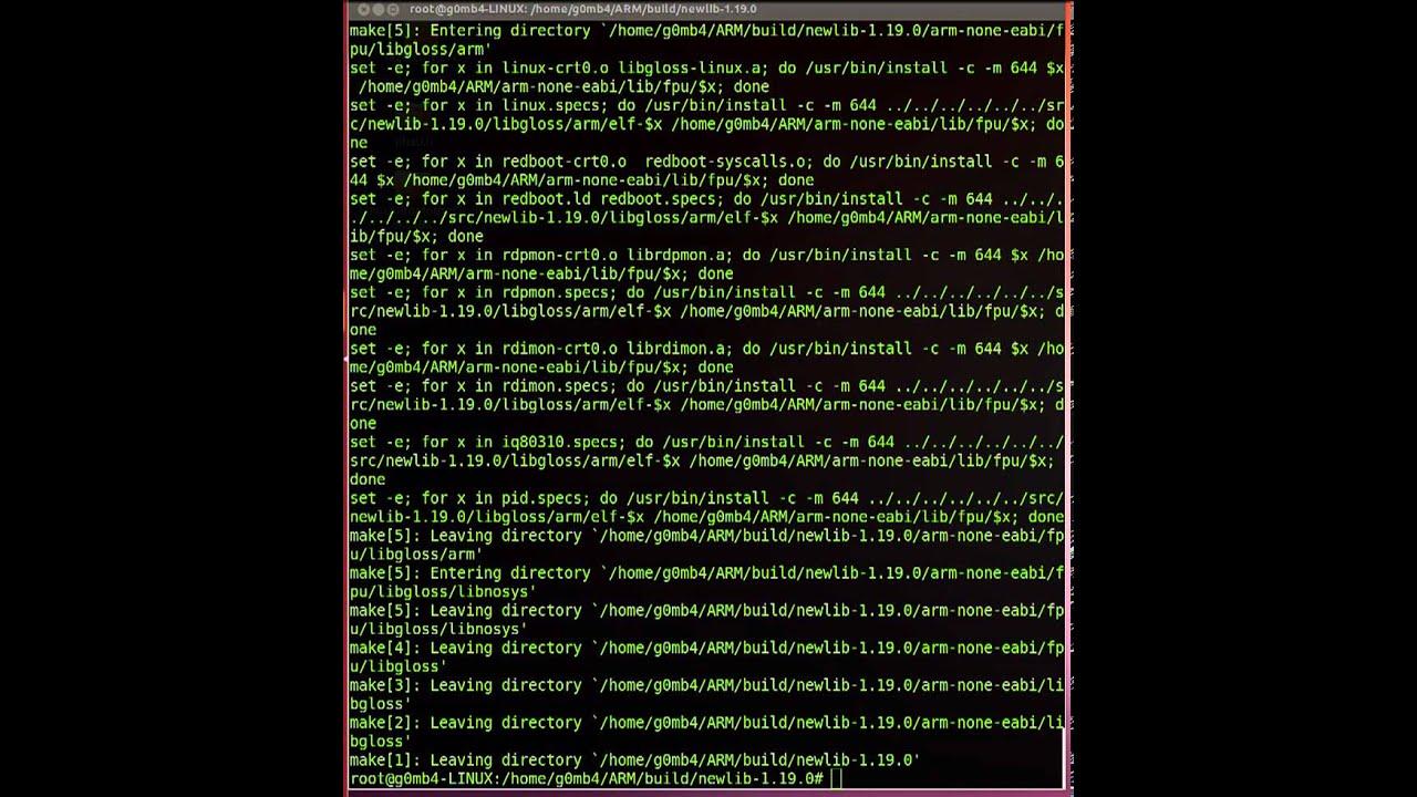 arm-none-eabi-gcc download/build/install on Ubuntu part2