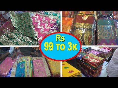 Saree Wholesale Market With Price   Banarasi Sari   Tant Saree   Kolkata