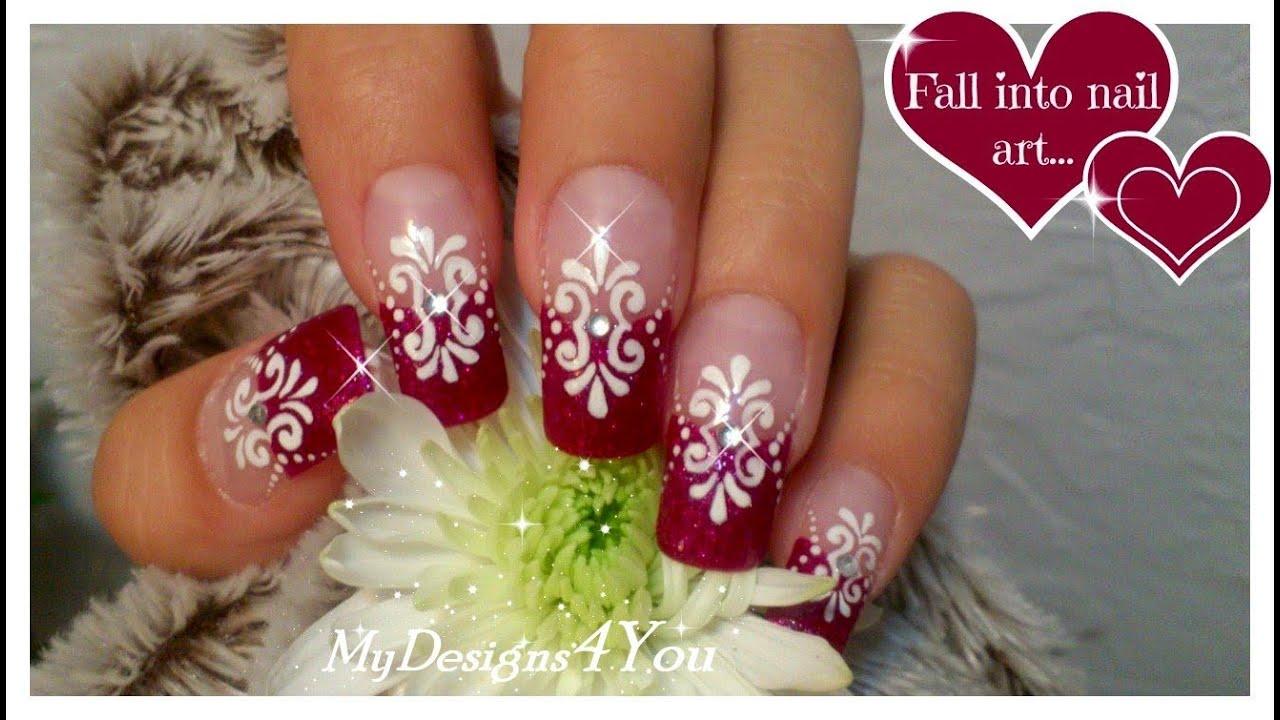 fuchsia french tip nail art floral
