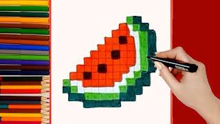 Como dibujar Sandía. Pixel Art  #Shorts
