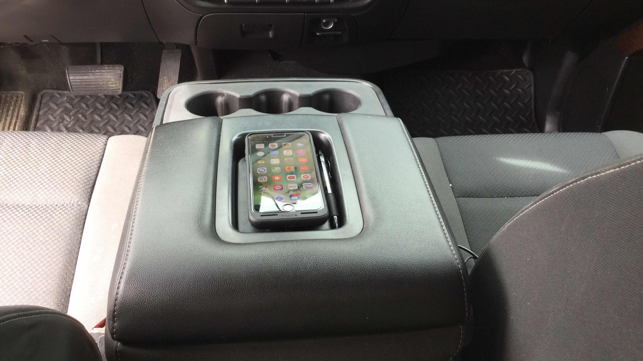 2015 GMC Sierra Wireless Phone Charger Armrest DIY - YouTube
