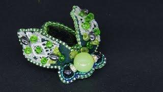Брошь Зеленый жук (мотылек) из бисера и камней  Мастер класс брошь мотылек своими руками