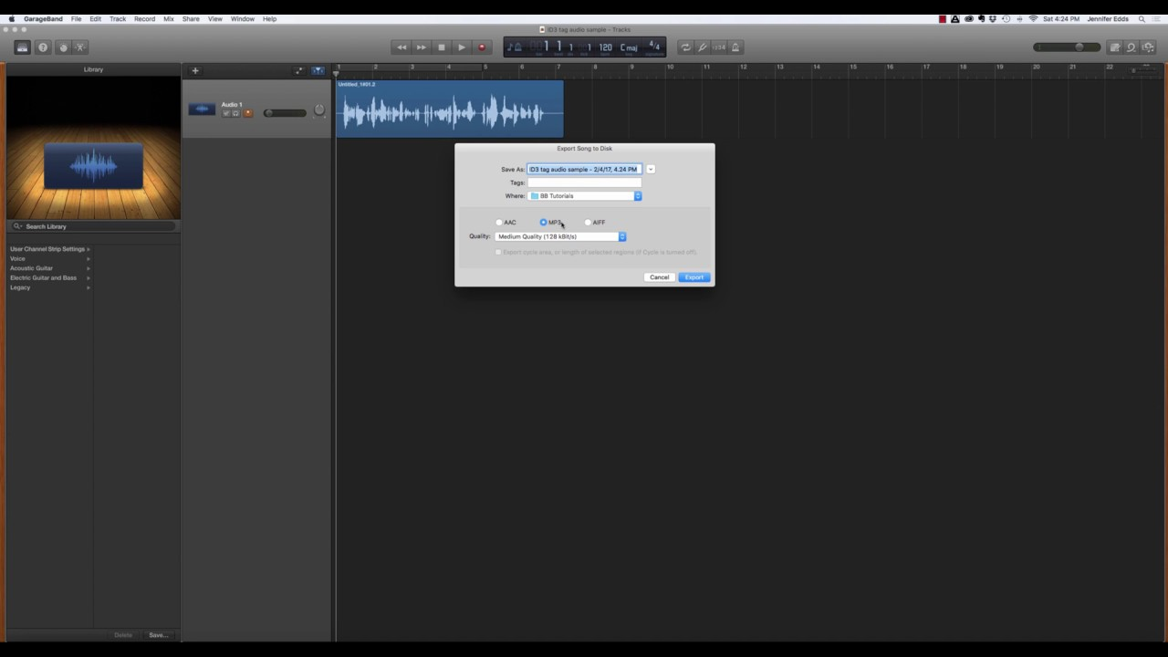 Fan Garageband How To Export An Mp3 From Garageband And Add Id3 Tags In Itunes