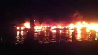 الحريق الذي شب بميناء سيدي فرج  sidi fredj  واتى على العديد من مراكب النزهة الفاخرة