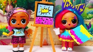 LOL Dolls Art Club Have Fun Painting at School | Playing with Toys for Kids & Barbie Swimming Pool