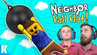Hello Neighbor Fall FLAT (Human Fall Flat NOOB Gameplay!) KIDCITY GAMING