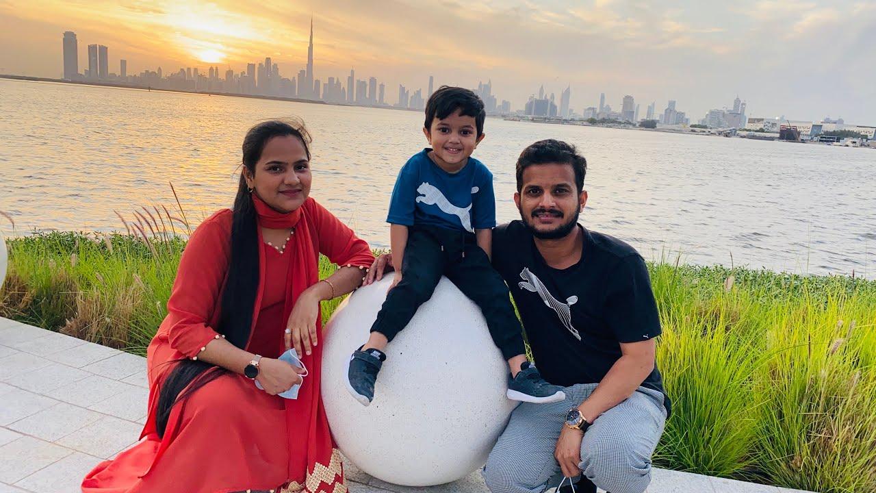 Dubai creek harbour beautiful sun set dubai city view tourist place Must visit