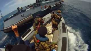 Mozambique Soldiers Board Suspected Pirate Ship at Sea - Somali Pirates