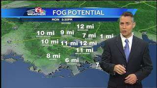 Monday evening: more fog possible with little rain