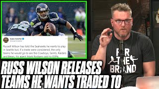 Pat McAfee Reacts To Russell Wilson's Preferred Landing Spots List