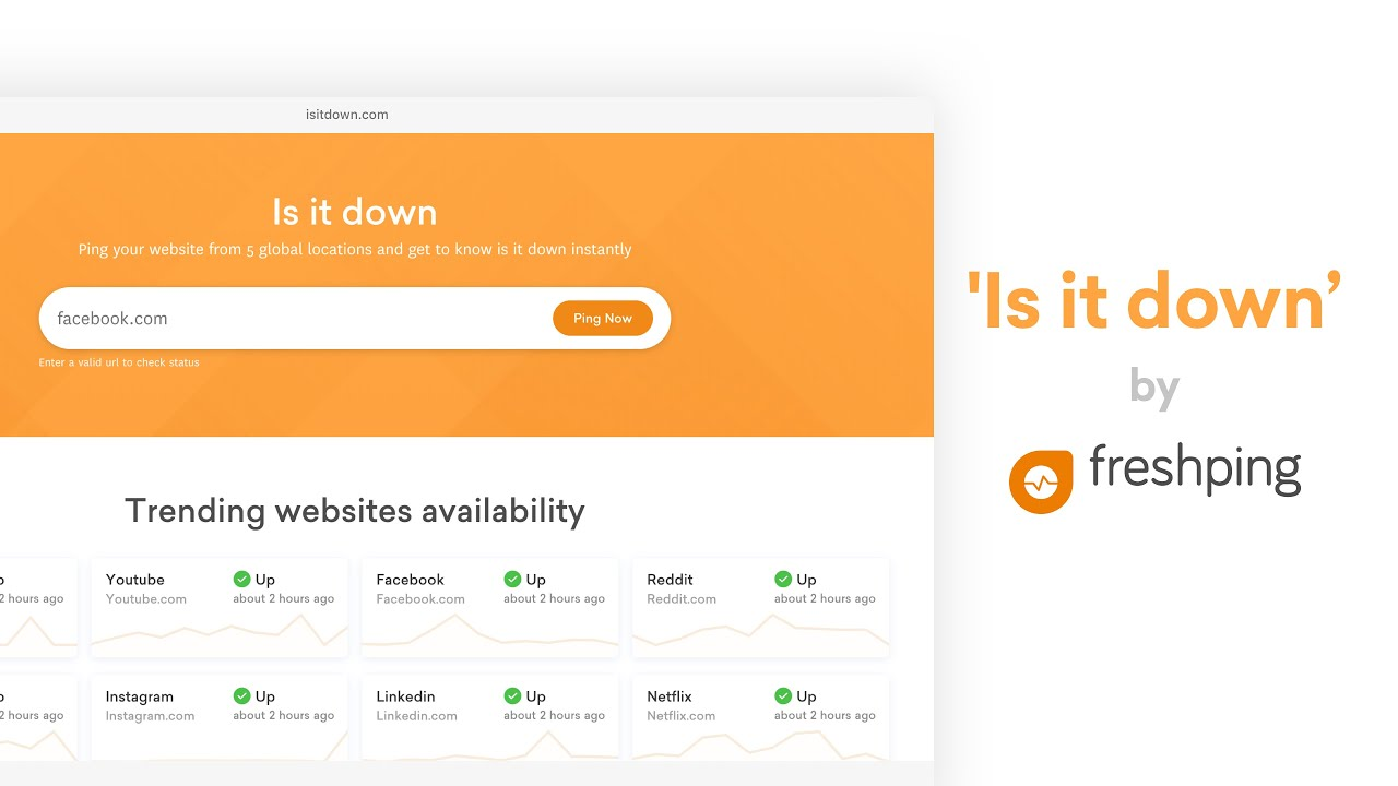 Is it down by Freshping - Check if any website is down from
