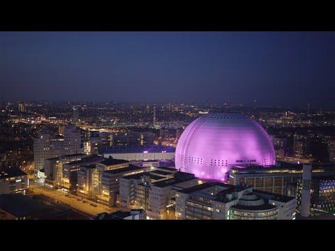 2549. Globen (Stockholm Globe Arena) Drone Stock Footage Video