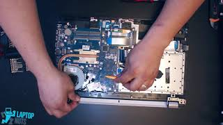 HP 15-BS series Disassembly. Hard drive, motherboard, cpu, heatsink and fan removal