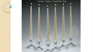 Unscented Ivory Dripless Taper Candles In Set At Shopacandle