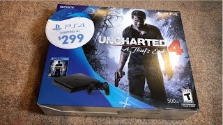 Unboxing the PS4 Slim 500GB Uncharted 4 Bundle(Here is my official unboxing of the PlayStation 4 Slim console! I purchased this from my local Walmart store for $322 after tax. This particular PS4 Slim comes ..., 2016-10-07T05:22:56.000Z)