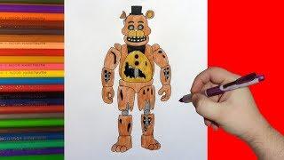 How to draw broken Freddy, FNaF, Как нарисовать сломанного Фредди, ФНаФ