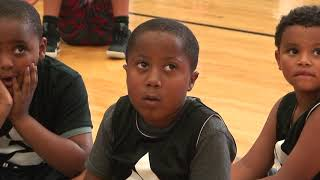 AJ SLAUGHTER SPEAKS TO CAMPERS DURING FIRST ANNUAL SWISH 2 SUCCESS SLAUGHTER ELITE CAMP 2018