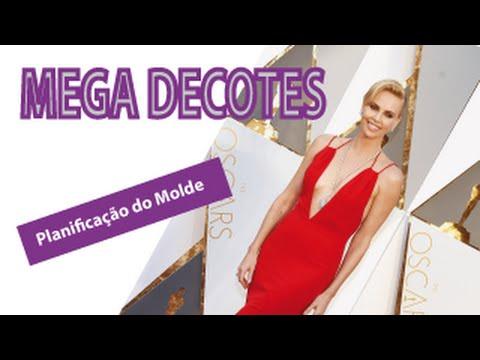 6a1a9ac21b Como Fazer MEGA DECOTES  Vestidos do Oscar - Planificação do Molde - YouTube