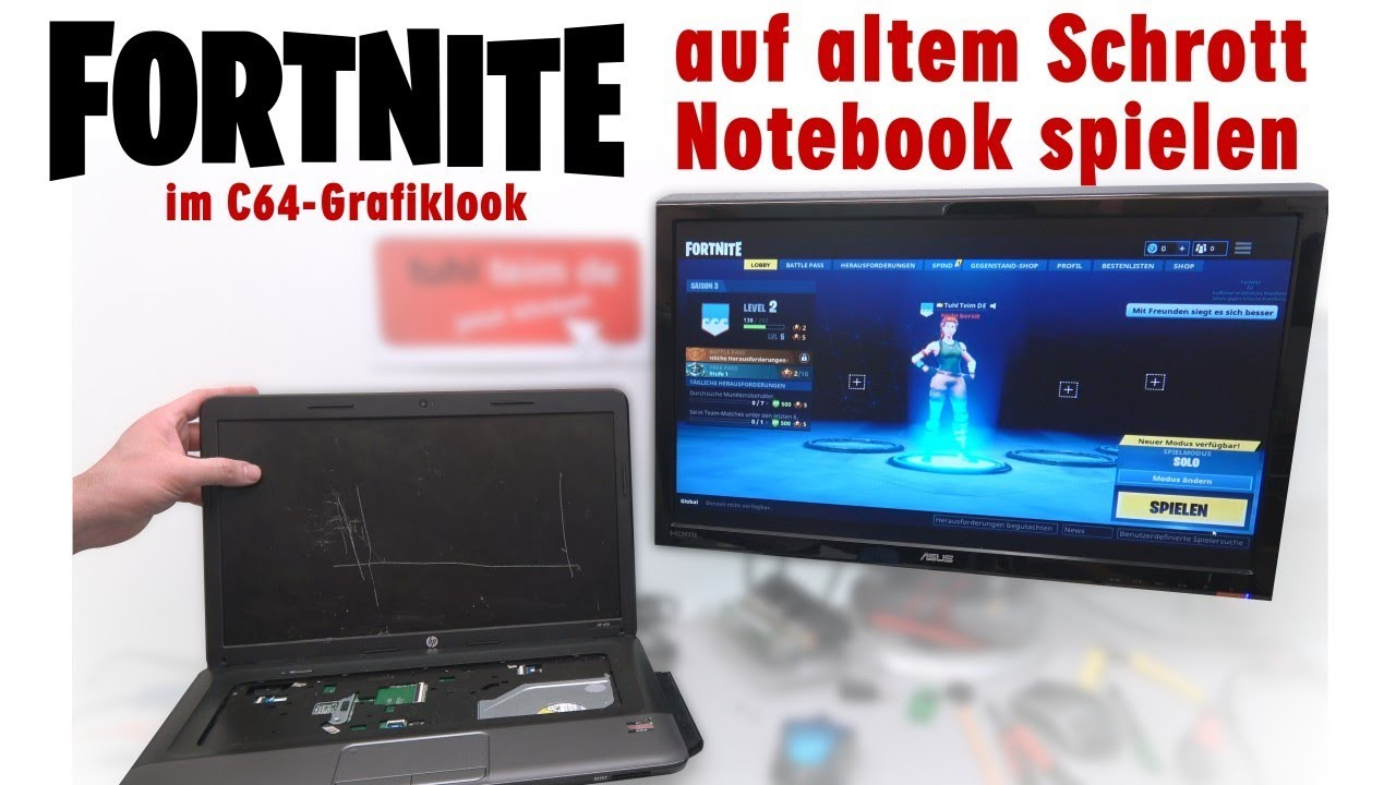 fortnite auf altem schrott notebook spielen im c64 grafiklook 4k youtube. Black Bedroom Furniture Sets. Home Design Ideas